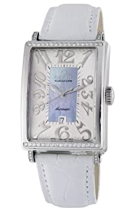 Gevril Avenue of Americas Glamour Women's Automatic Watch with Mother of Pearl Dial Analogue Display and Blue Leather Strap 6207NT