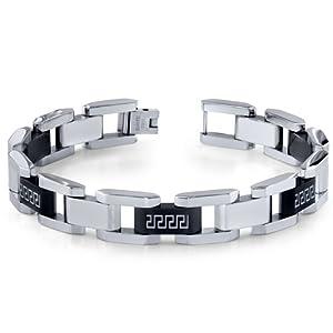 Revoni Mens Stainless Steel Black And Silver-tone Greek Key Large Link Bracelet by Revoni