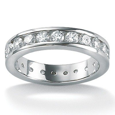 Platinum/Silver Cubic Zirconia Round Eternity Ring Size: 7