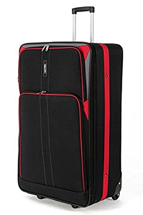 Large 26 Inch Lightweight Expandable Suitcase, Check-in Luggage Wheeled Rolling Bag with 3 Years Warranty! (Black/Red WG Edition)