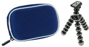 rooCASE 2n1 Nylon Hard Shell (Dark Blue) Memory Foam Carrying Case and Premium Tripod Canon PowerShot PowerShot A3300 IS Digital Camera