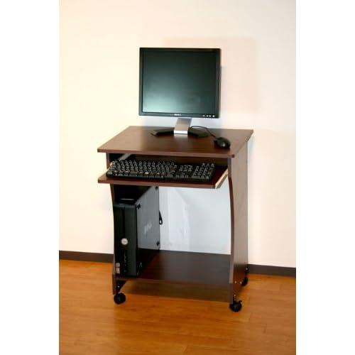 オールウッド コンパクト机 ダークブラウン木目 60cm幅パソコンデスク スライダー/キャスター付き
