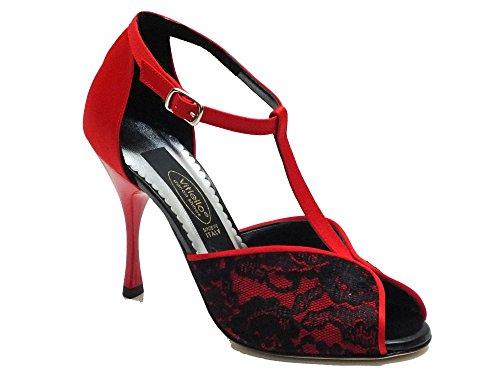 Scarpa da donna per ballo tango in macramè nero e raso rosso (Taglia 37)