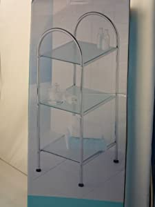 Chrome Plate Bathroom 3 Tier Frosted Glass Free Standing Storage Unit Amazon