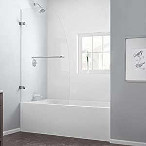 DreamLine Aqua Uno 34 in. Frameless Hinged Tub Door, Chrome Finish, SHDR-3534586-01