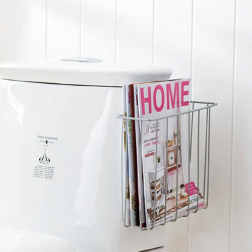 Over the tank toilet magazine newspaper rack organizer w for Porte revue mural