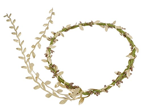 DreamLily Women's Flower Festival Wedding Hair Wreath BOHO Floral Headband BC09 (1-Gold)