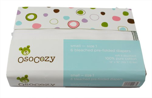 Osocozy 6 Pack Prefolds Bleached Cloth Diapers, Size 1
