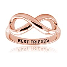 buy Sterling Silver Rose Gold Plated Best Friends Infinity Ring - Size 8