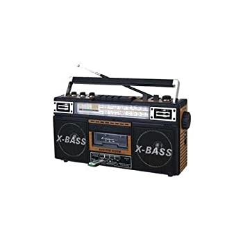 Qfx J-22u-brn Retro Collection Boom Box Wood With Am/fm/ Sw-1 - Sw2 4-band Radio And Cassette To Mp3 Converter