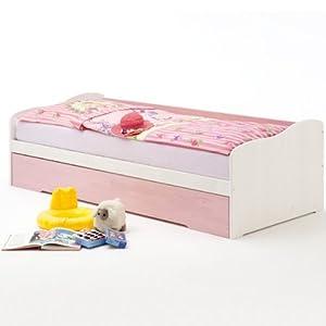 Funktionsbett LILLI, Kiefer massiv, weiß-rosa