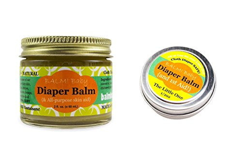 BALM! Baby Diaper Balm * Natural Diaper Rash Balm & ALL Purpose Skin Aid (2 oz. Jar PLUS 1/2 oz. Travel Size)...