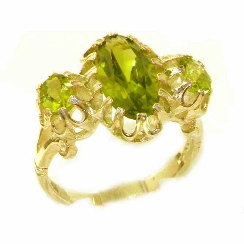 Large Luxury Solid 14K Yellow Gold Natural Vibrant Peridot Victorian Inspired Ring - Size 9.75 - Finger Sizes 5 to 12 Available - Perfect Gift for Birthday, Christmas, Valentines Day, Mothers Day, Mom, Mother, Grandmother, Daughter, Graduation, Bridesmaid.