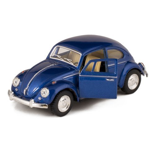 Blue 1967 Classic Die Cast Volkwagen Beetle Toy with Pull Back Action