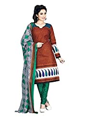Vedant Vastram Woman's Cotton Printed Unstitched Dress Material (Green & Red Colour)