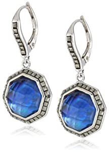 "Judith Jack ""Mini Octagons"" Sterling Silver, Abalone and Marcasite Drop Earrings"