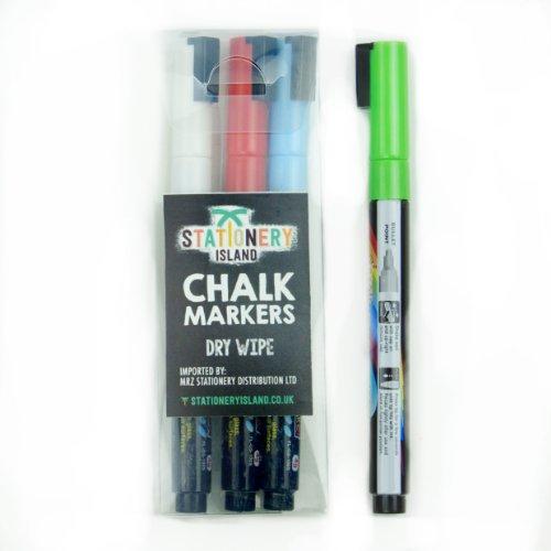 Rotuladores de tiza líquida Stationery Island - 4 colores [Estuche de 4 marcadores] (Borrado con paño seco - Punta redondeada 3mm) (Rojo, blanco, azul y verde)
