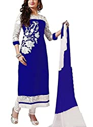 Womens Beautiful Heavy Embroidery Neck (Blue)