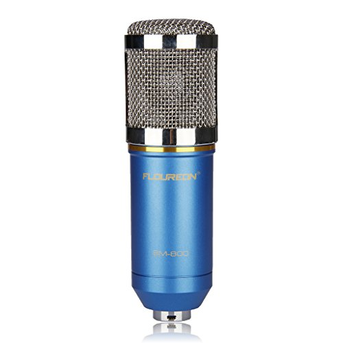 Floureon BM-800 Condenser Sound Studio Recording Broadcasting Microphone + Shock Mount Holder Blue - 2