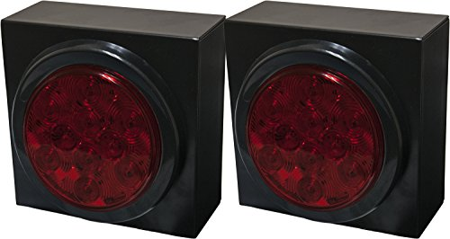 """Pair Of 4"""" Round Red Led Stop Tail Turn Trailer Light Kits W/ Boxes"""