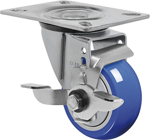 """Schioppa L12 Series, Gl 312 Tp Sl, 3 X 1-1/4"""" Swivel Caster With Wheel Lock Brake, Non-Marking Extra Soft Thermoplastic Rubber Wheel, 150 Lbs, Plate 3-1/8 X 4-1/8"""" (Bolt Holes 3-1/8 X 2-1/4"""") front-392531"""