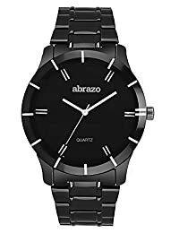 Abrazo - Round Shape (20mm) Metal Strap Analog Stylish Execlusive Whole Black Wrist Watch For Mens - Black (AB-WT-MN-PLN-MTL-BL)