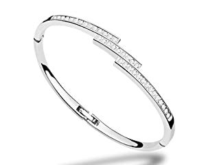 Valentine's Gifts Ninabox Snow Queen Collection Ice. White Gold Plated Bangle Bracelet with Round Clear Swarovski Elements Crystal. Bracelet Diameter : 5.7 cm * 4.5 cm. BAG04311WW