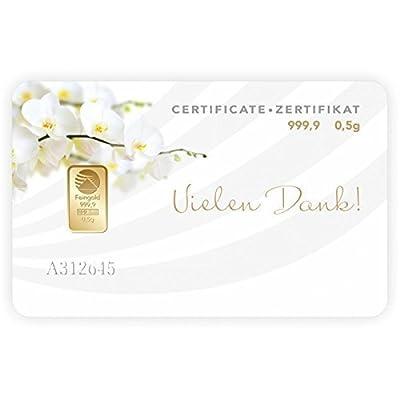 Vielen Dank,Geschenkkarte,Goldbarren 0,50 Gramm Nadir Gold 0,5g Pim Gold 0,50g Goldgeschenke mit Geschenkbeutel