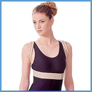 """DELUXE UNISEX SHOULDER SUPPORT POSTURE BRACE, Antibacterial & LOW PROFILE.Size = SMALL / MEDIUM (Worldwide P&P only 99p) all other sizes available, just type into the search bar above """" prolineonline"""" will show all other sizes and items available."""