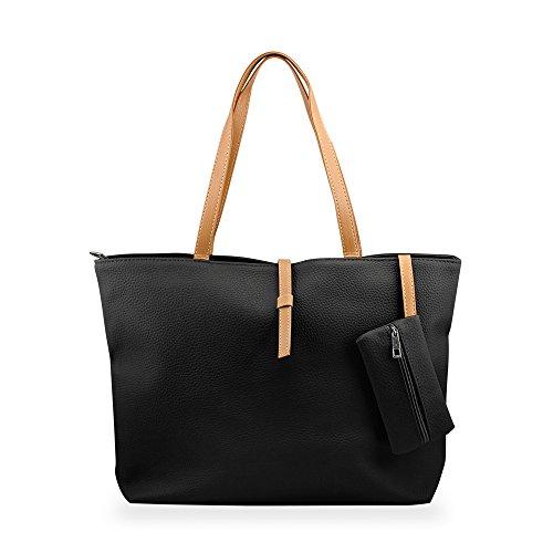 gearonic-tm-korean-lady-women-pu-leather-shoulder-handbag-shoulder-bag-black