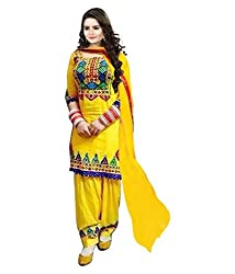Tomorrow Culture Yellow Cotton Straight Embroidert Unstitched Dress Material