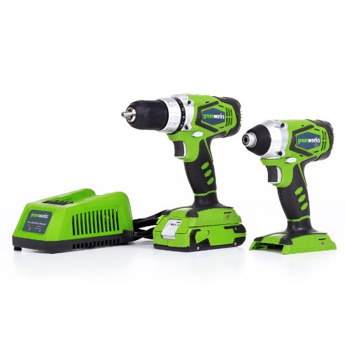 GreenWorks G24 24V Combo Kit Lithium-Ion Drill and Impact Driver