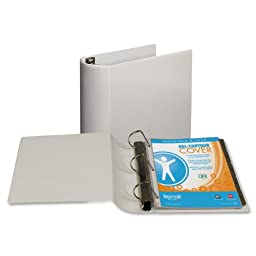 Samsill DXL/Contour Cover Ergonomic View Binder, D-Ring, 4-Inch, White (17797)