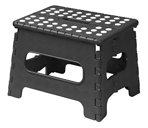 "Read About Acko 9"" x 11"" Black Folding Step Stool great for kids and adults. Holds up to 2..."