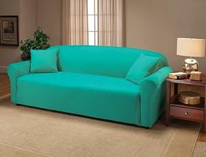 Stretch Jersey Sofa Slipcover in Aqua