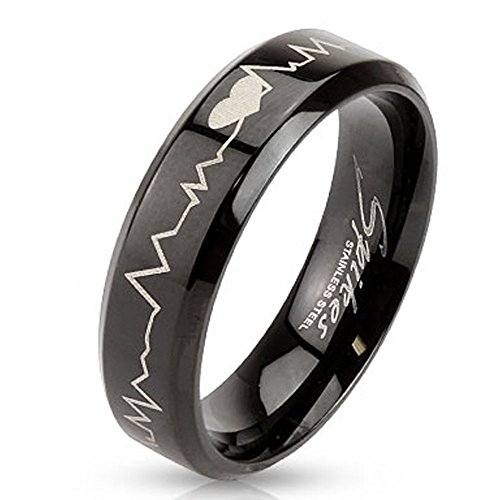 STR-0123 Stainless Steel Black IP with Heartbeat Laser Etched Band Ring (10)