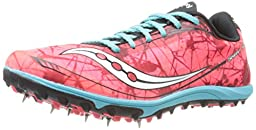 Saucony Women\'s Shay XC4 Spike Cross Country Spike Shoe,Vizicoral/Blue,7.5 M US