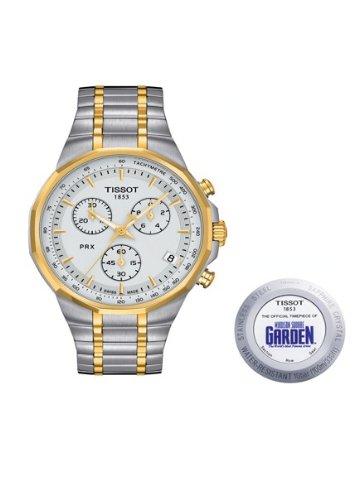 Tissot T0774172203110 PRX Special Edition MSG Men's Two-Tone Chronograph Watch Silver Dial Quartz Movement