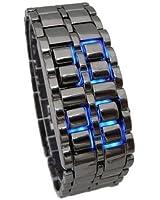 Cobalt® Montre Noir LED Bleu Materiaux Acier - Original Samurai - Horloge mens