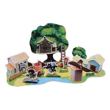 49 Pcs Diy Paper Fairy Tale 3D Puzzle Little Red Riding Hood front-892519
