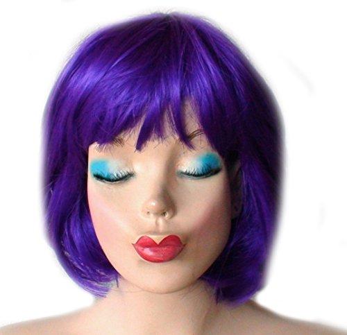 [Purple Bob Wig With Bangs Womens Costume Wig] (Purple Wig Costumes)