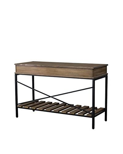 Baxton Studio Newcastle Wood & Metal Criss-Cross Console Table, Brown/Antique Bronze
