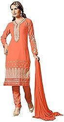 Manmauj Women's Cotton Unstitched Dress Material (MM10035DFNT, Orange)