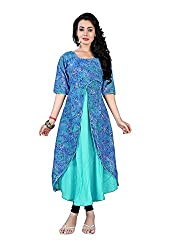The Empire Casual Wear Blue Coloured Rayon Stitched Kurti-XL
