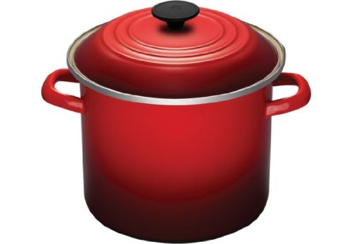 Le Creuset Enamel-on-Steel 8-Quart Covered Stockpot (Red)