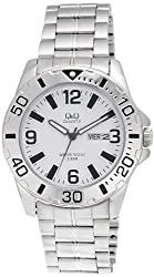 Q&Q Standard Analog White Dial Mens Watch - A174J204Y