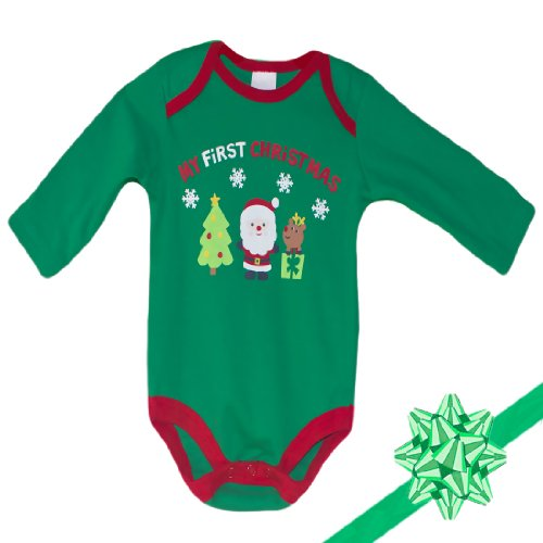 "Baby Boutique Organic Onesie ""My First Christmas"" Size: 0-3 Mths front-63708"