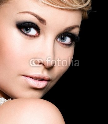 "Wallmonkeys Peel and Stick Wall Decals - Beautiful Woman Face with Black Make-up of Eyes - 24""H x 21""W Removable Graphic"