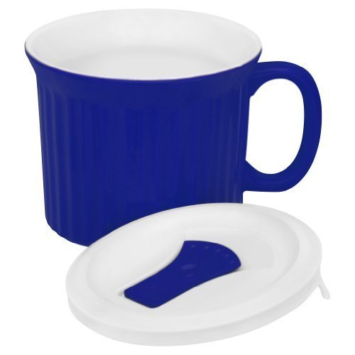 Corningware French White Pop-Ins Mug With Vented Plastic Cover, 20-Ounce, Blueberry Color: Blue Home & Kitchen front-491219