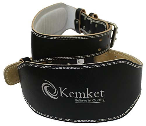 """Kemket 10,16 cm (4"""") & 15,24 cm (6"""") in pelle imbottita di supporto lombare ortopedico & & per uomo, donna, a doppia fibbia Cintura per sollevamento pesi, allenamento, palestra, cinghia posteriore, per body building, Fitness, 4"""" (Inch)"""